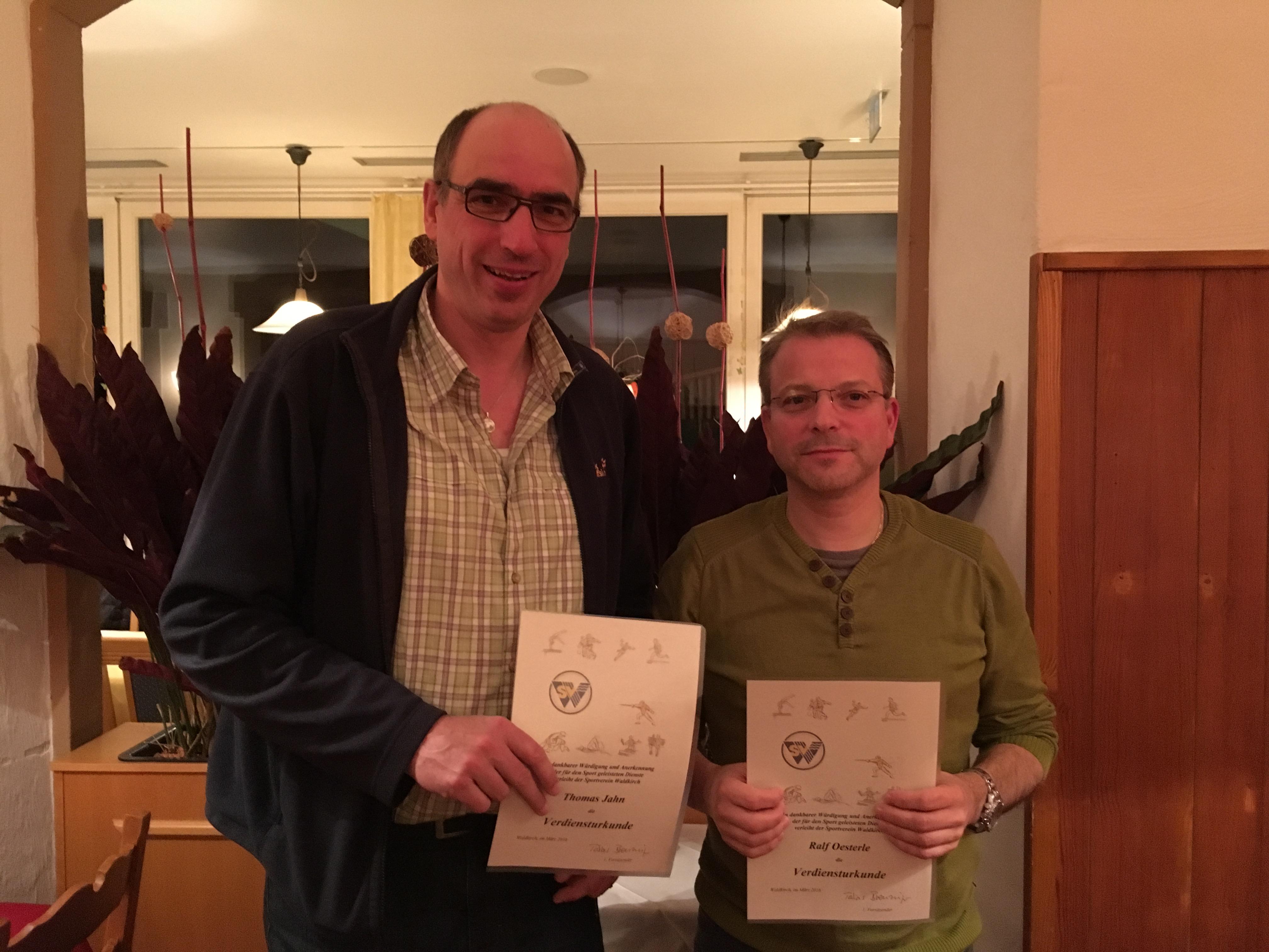 Verdiensturkunden Thomas Jahn und Ralf Oesterle 2016